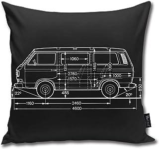 QMS CONTRACTING LIMITED Vw T3 Bus Lightblack Kissenbezug Quaste Kissenhülle Dekorative Kurzes Haar Dekokissen Mit Reißverschluss Sofa Schlafzimmer Auto 18 X 18 Inch 45 X 45 cm
