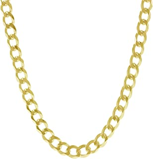 18K Solid Yellow Gold Heavyweight 5.5mm Cuban Curb Link Chain Necklace- Italian Design-18 Karat…