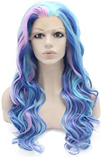 Mxangel Long Wavy Swiss Lace Front Synthetic Wig Blue Purple Colorful Cosplay Party Wig