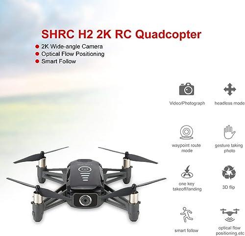 WOSOSYEYO H2 2K WiFi FPV RC Drone Optique Débit PositionneHommest Intelligent Suivre RTF Quadcopter RC Télécomhommede Hélicoptère Jouet (Noir)