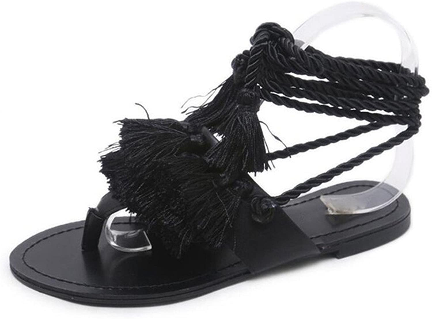 Giles Jones Flip Flops Flat Sandals for Women,Bohemia Tassel Lace Up Clip Toe Beach shoes