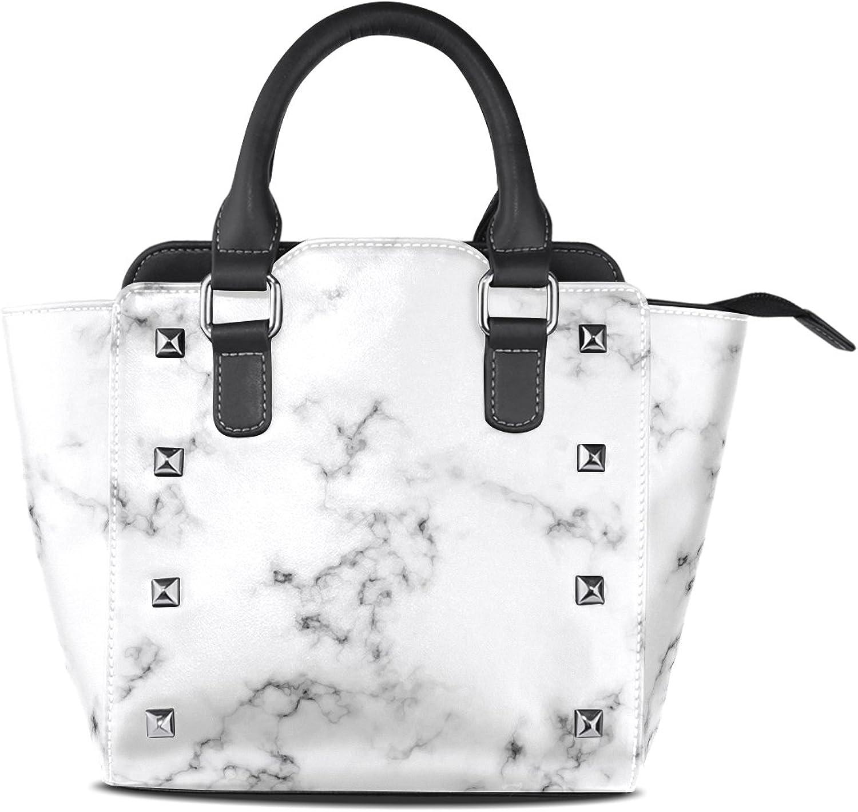 My Little Nest Women's Top Handle Satchel Handbag White Marble Pattern Ladies PU Leather Shoulder Bag Crossbody Bag