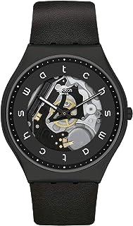 Swatch st. Steel Quartz Leather Strap, Black, 16 Casual Watch (Model: SS07B101)
