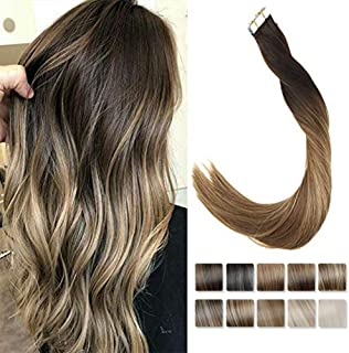 LaaVoo 14inch 20pcs 50g Glam Seamless Tape Hair Extensions Human Hair Blonde Balayage Darkest Brown #2 to Medium Brown #6 and Caramel Blonde #27 Tape in Remy Hair