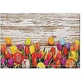 JHDF Tulipes colorées sur Les Tapis de Bain en Bois Tapis d'entrée antidérapants Plancher de...