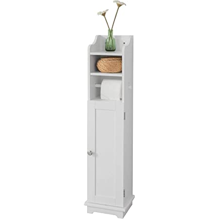 SoBuy® FRG177-W Support Papier Toilette Armoire Toilettes Porte Brosse WC Meuble de Salle de Bain Sur Pied en Bois – Blanc