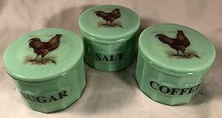 Set of 3 Crocks Canisters w/Brown Roosters - Jade Jadeite Jadite Green Depression Style Glass - Coffee Salt Sugar (Brown Rooster)