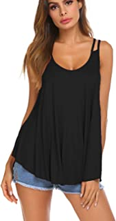 Women's Summer Casual V Neck Flowy Tank Top Strappy Cami Swing Top