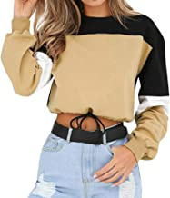 Aniywn Womens Long Sleeve Splicing Color Sweatshirt Pullover Tops Blouse Casual Short Crops Hooded Jumper