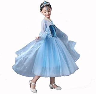 Girl's Princess Elsa Costume White Net Sleeve Dress Cosplay Halloween Birthday Party Dress Fancy Dress