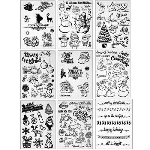 9 Sheets Christmas Theme Clear Stamps Silicone Stamp Cards Christmas Silicone Clear Stamps for Card Making Decoration Scrapbooking Album Supplies