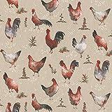 Hans-Textil-Shop Stoff Meterware Bauernhof Hühner Chickens