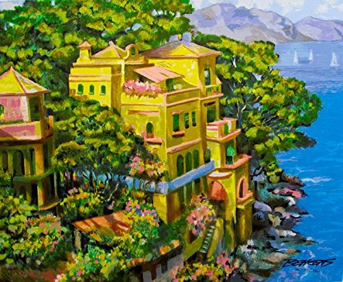 """Art by Howard Behrens """"Villa Portofino"""" Hand Signed Limited Edition Serigraph Print. After the Original Painting or Drawing. Measures 21 Inches X 23"""