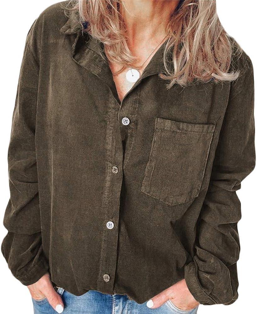 xxxiticat Women's Plus Size Corduroy Shirt Long Sleeve One Pocket Loose Solid Oversized Button Down Blouse Top