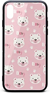 Pink Bear Baby Decor Phone Case for iPhone Xs Max TPU Gel Protective Best Anti-Scratch Fashionable Glossy Anti Slip Thin Shockproof Soft Case