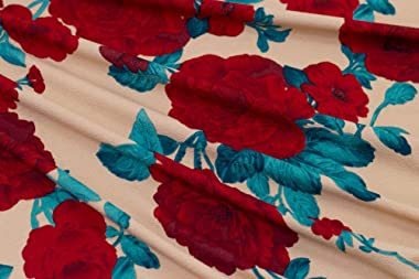 Fabric Merchants Liverpool Roses Fabric by The Yard, Khaki/Red 10 Yards