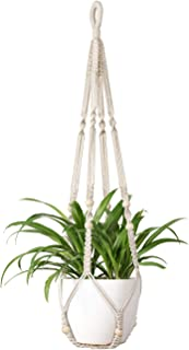 Mkono Macrame Plant Hangers Indoor Hanging Planter Basket with Wood Beads Decorative Flower Pot Holder No Tassels for Indoor Outdoor Home Decor 35 Inch, Ivory
