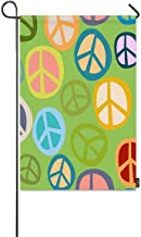 ARihcD Peace Symbol Small Garden Flag Colorful Hippy Peace Sign Seamless Pattern with Green Background Decorative Spring Summer Outdoor House Flags for Garden Yard Lawn 12