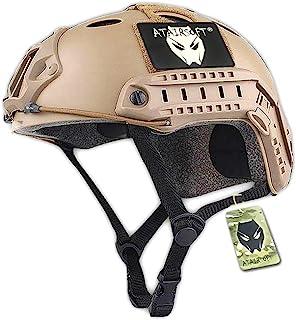 ATAIRSOFT Fast PJタイプ タクティカル アウトドア エアソフトヘルメット 米軍風 多機能サバゲーヘルメット マウントレール付き ABS製 かっこいいヘルメット (カーキ)
