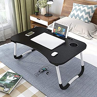 Laptop Tray Bed Table, Foldable Lap Table for Breakfast Serving, Notebook Table with Tablet Slots and Holder for Couch Floor for Adults/Students/Kids - Black