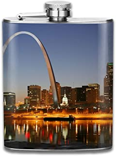 JHXZML St. Louis's Tallest Building Night Hip Flask 7 Oz 304 Stainless Steel Leather Wrap Drinking Pocket Flagon for Whiskey Alcohol Liquor