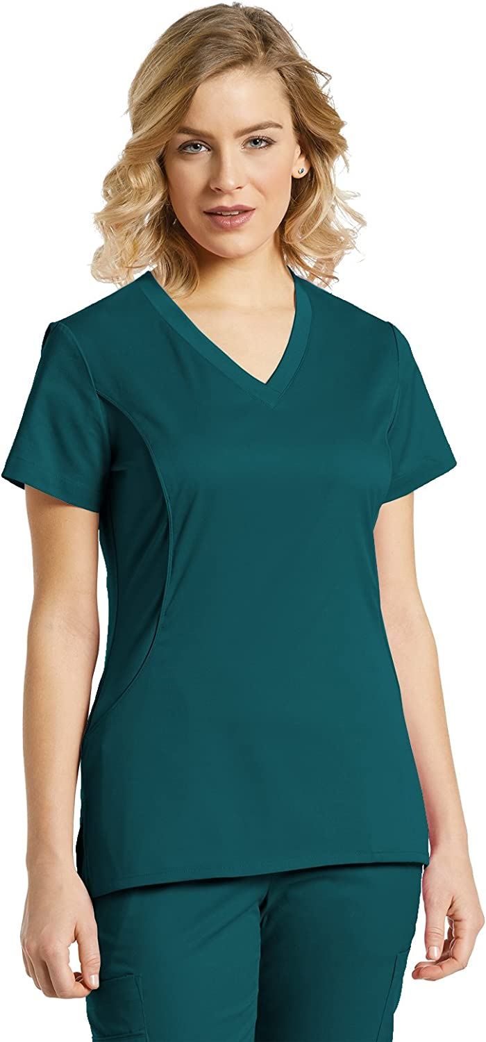 Allure by White Cross Women's VNeck Stretch Side Solid Scrub Top Large Caribbean