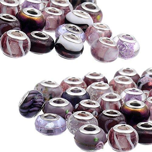Rubyca - Pulsera de cuentas redondeadas de cristal de Murano negro de estilo europeo, color plateado, 90 unidades