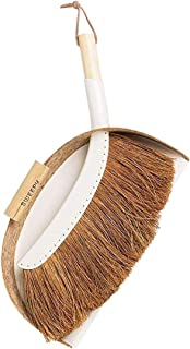 SWEEPY Small Coconut Fiber Broom and Steel Dustpan Set - Natural Mini Handled Brush and Dustpan for Indoor and Outdoor Cleaning