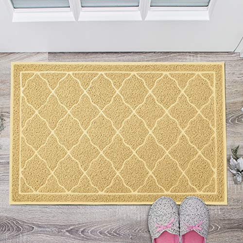 Delxo 24 x 36 Inch Entrance Doormat No Odor Durable Anti-Slip Rubber Back Front Doormat with Shoes Scraper for Scraping Mud, Snow, Sand in High Traffic Areas (Beige)