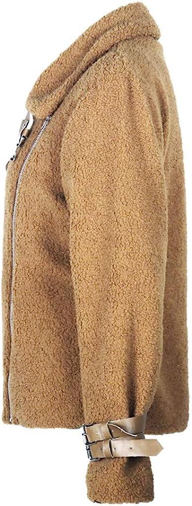 OIKAY Faux Pelz Mantel Damen Winter Aviator Jacke Frauen Faux Pelz Fleece Mantel Outwear Warme Revers Biker Motor Mäntel T Khaki