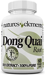 Natures Elements Dong Quai Root - Standardized 10:1 Extract - 1% Ligustilide - Free Gift with 3 Bottle Purchase! - Vegetar...