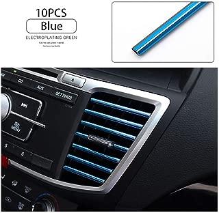 LEIWOOR 10 Pcs Car Interior Moulding Trim Car Air Conditioning Air Outlet Colorful Film Car Interior Exterior Decoration Seal Strip Strip Line (Blue)