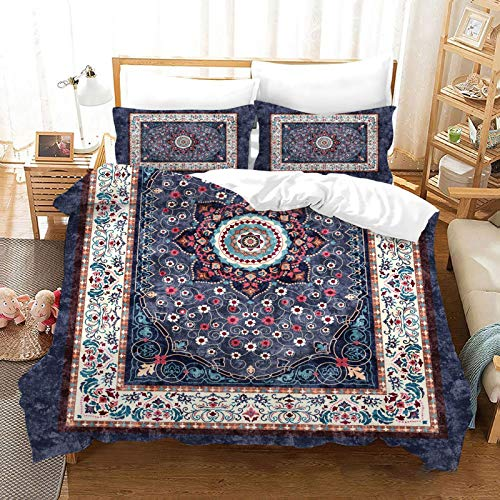 QXbecky 3D Persian Retro Ethnic Style   Soft Microfiber Bedding Quilt Cover Pillowcase 3 Piece Set Double