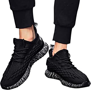 RONSHIN Men Fish Scales Pattern Delicate Knit Breathable Elastic Sneakers