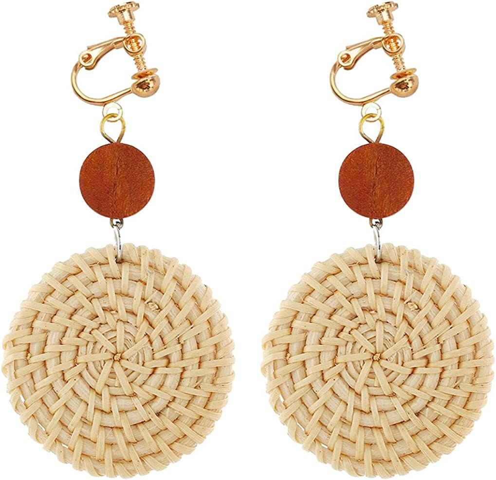 Clip on Non Pierced Earrings Wooden Beaded and Rattan Dangle Drop for Women Girl Fashion Ears Jewelry Handmade Woven Geometric Round Dangling Boho Style Princess Gifts Party Dress Up