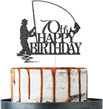 Black Glitter Fisherman Happy 70th Birthday Cake Topper, 70th Birthday Decorations, Fisherman 70th Birthday Party Supplies