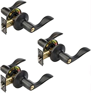 Dynasty Hardware HER-00-12P, Heritage Front Door Entry Lever Lockset, Aged Oil Rubbed Bronze - (3 Pack) - Keyed Alike