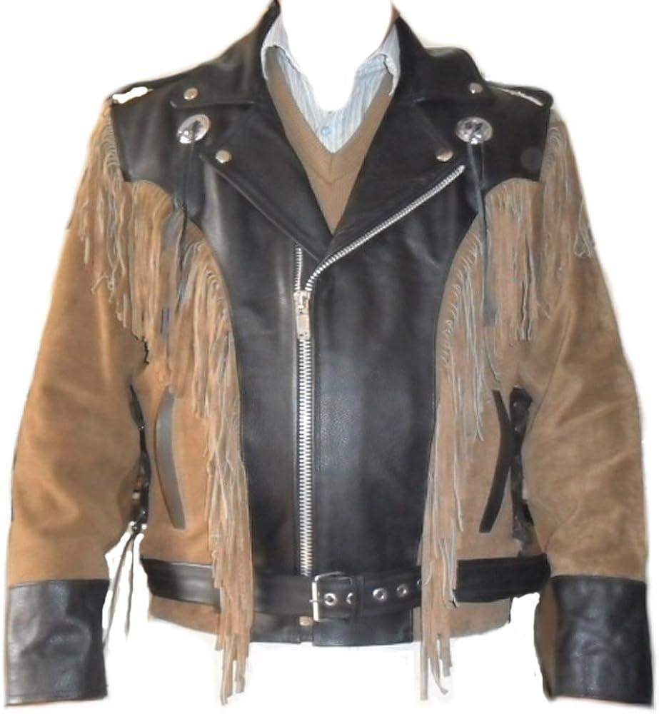 coolhides Men's Cowboy Western Leather Motorbike Jacket