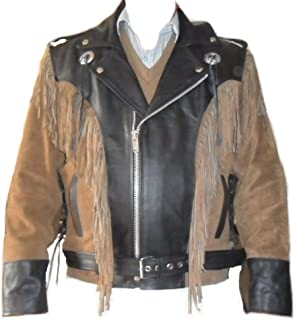 Classyak Western Style Leather Moto Jacket, Quality Suede & Cow Leather, Xs-5xl