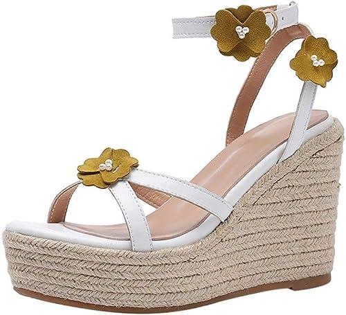 Yierkangxie Sandales pour Femmes Sandales Sandales Sandales compensées été Plate-Forme en Cuir Chaussures Anneau de Pied Bretelles Straw High Heels Chaussures de Plage Talons (Couleur   rose, Taille   35 US5.5) 279