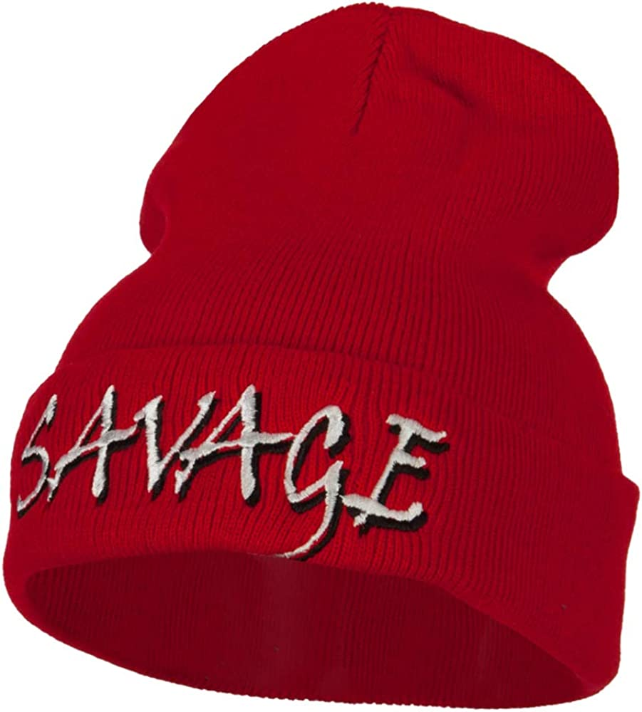 Product e4Hats.com latest Savage Embroidered Knitted Long Beanie