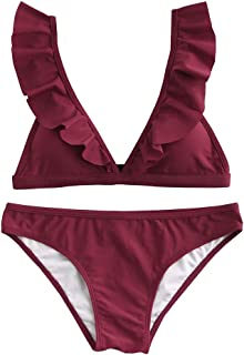 Womens Ruffle Bikini Triangle Bathing Suits Solid 2 Piece Swimsuits