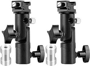 Camera Flash Speedlite Mount, Professional Camera Swivel Light Stand Bracket Umbrella Holder Shoe Mount for Canon Nikon Pentax Olympus and Other Flashes, Studio Light, LED Light E Type (2 Packs)