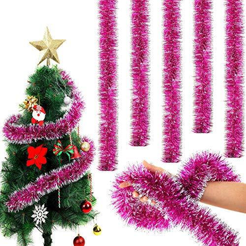 WILLBOND 6,6 Füße Weihnachten Lametta Girlande Schneebedeckt Lametta Twist Girlande Klassische Glänzende Weihnachtsbaum Schmuck für Party Hängende Decke Dekorationen (Rose Red, 5)