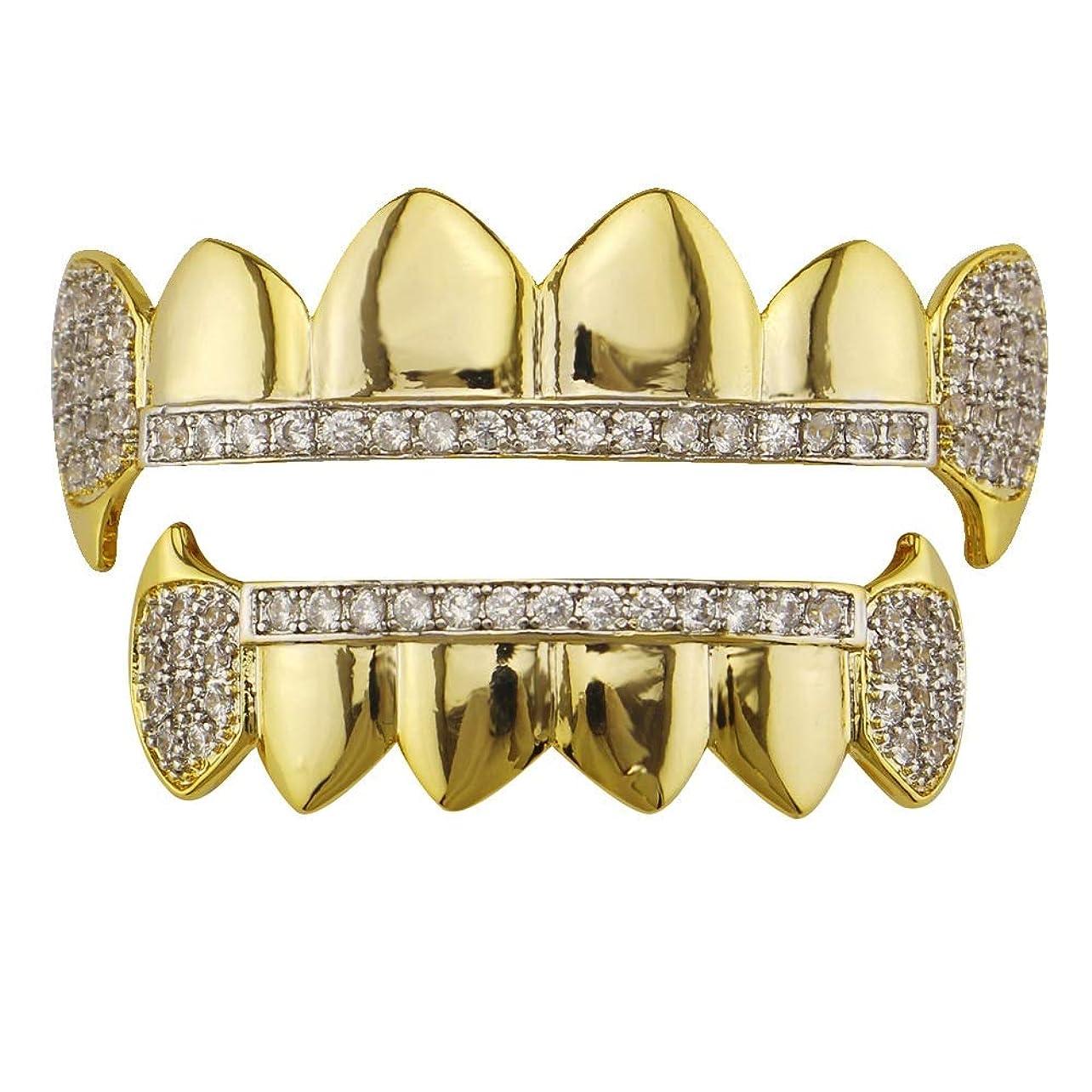 脚本家音休憩するゴールドメッキクルスラインストーン - あらゆるタイプの歯に最適なカット - 上下のグリルセット - ヒップホップブリンブリングリル