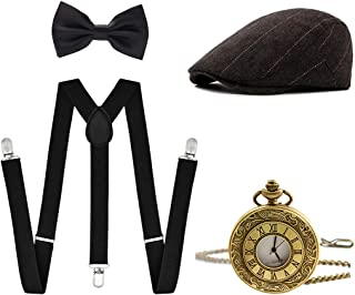 Ziyoot Men's 1920s Accessories Gatsby Gangster Costume Set Gangster Beret Y-Back Suspender