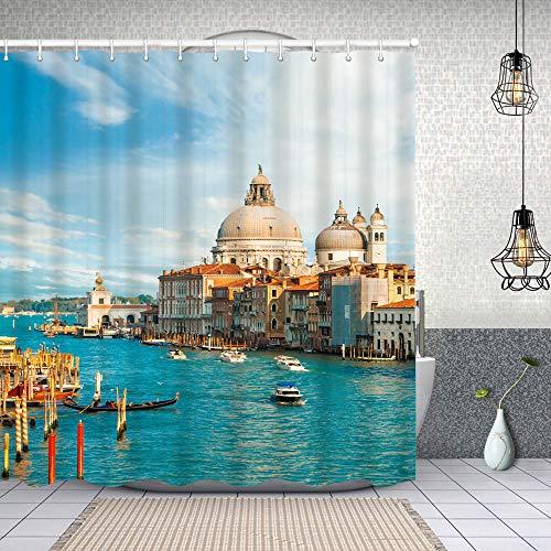Cortina de Baño con 12 Ganchos,Hermosa Vista del Gran Canal con Nubes Venecia Italia,Cortina Ducha Tela Resistente al Agua para baño,bañera 150X180cm