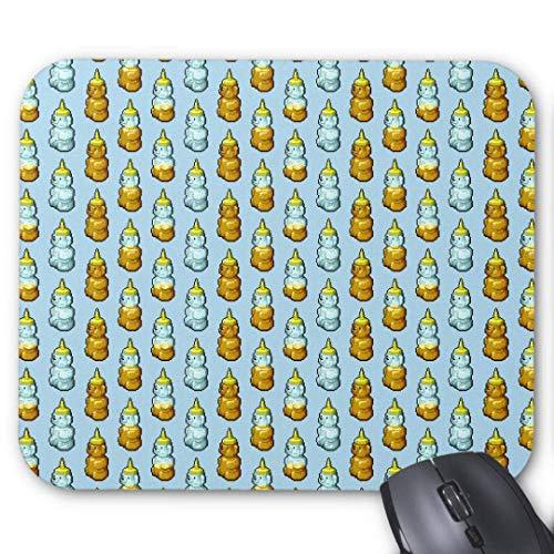 rutschfeste Gummimausmatte Rechteckige Mauspads für Computer Laptop (20x24cm) -Pixel Kunst Honigbär Flaschen Muster Mauspad