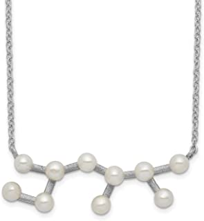 Moon Collection 16 White Glass Pearl Beads with a Silver Tone Magnetic Clasp.