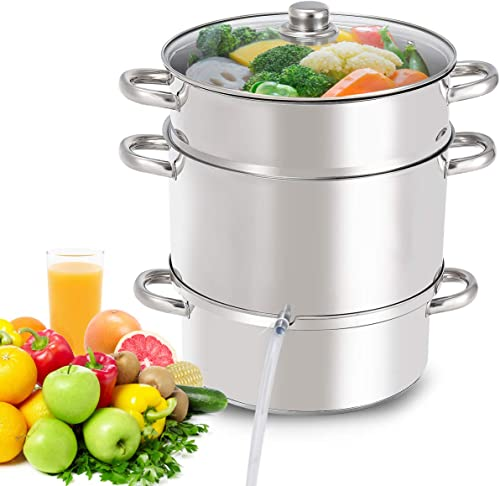 new arrival Giantex 11 Quart Juice Steamer Fruit Vegetables Juicer Steamers w/ Tempered Glass Lid, new arrival Hose, Clamp, Loop Handles Stainless Steel Steam lowest Juicer Multipots Kitchen Cookware for Making Juice, Jelly, Pasta online sale